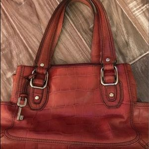 True Vintage FOSSIL Leather shoulder Hand Bag